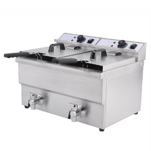 Deep Fat Fryer 2 x 8 Ltr Twin Tank & Tap - DF-8T-2